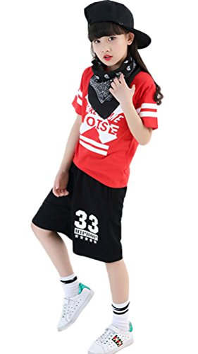 Soojun Boys Girls Hip Hop 2pcs Clothing Set T-Shirt and Shorts, 2 Set, 165cm by Soojun