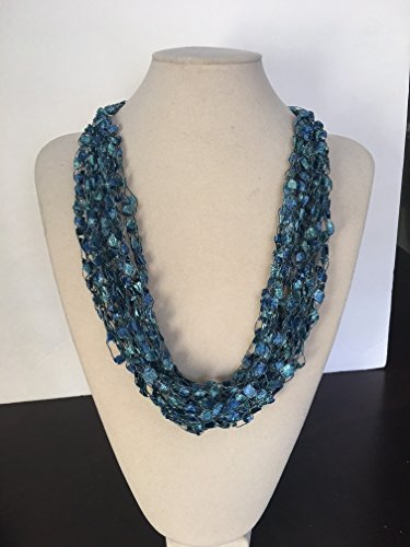 Crocheted 7 Strand Necklace Adjustable Lightweight Unique Gift (Lightweight Turquoise Necklace)