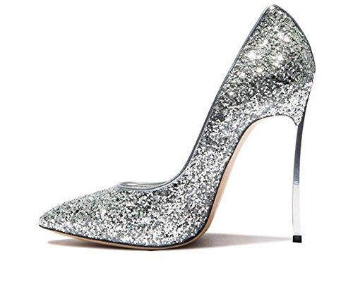 GAIHU Mesdames Femmes Stiletto Sexy High Heels Shoes paillettes dor