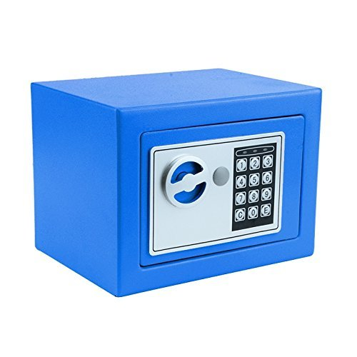 Blue Steel Safety Cabinets (Digital Security Safe Box for Valuables, Compact Waterproof Fireproof Steel Lock Vault Safe Box)