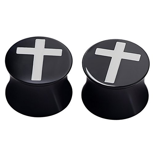 (PHD LTD Acrylic Black Solid Jesus Christ Cross Puncture Double Flared Ear Plugs Tunnels Expander Piercing Set Gauge 00g)