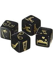 Set van 4 stuks erotische dobbelstenen voor paren, dobbelstenen met opdruk voor verschillende seksposities, plaatsen, accessoires en lichaamsgedeelte, spel voor mannen en vrouwen, zwart