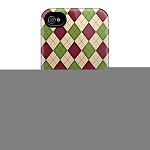 Casecover88 Scratch-free Phone Cases For Iphone 6- Retail Packaging - Red And Green Argyle