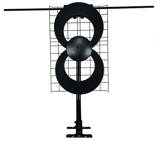 Antennas Direct ClearStream 2V TV Antenna, 60+ Mile Range, UHF/VHF, Multi-directional, Indoor, Attic, Outdoor, Mast w/Pivoting Base/Hardware/ Adjustable Clamp, Sealing Pads, 4K Ready, Black - C2-V-CJM