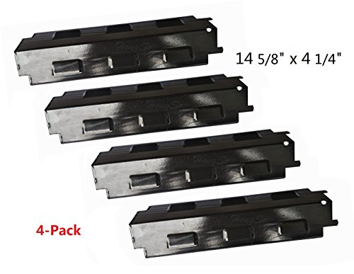 Grill Heat Tent (Hongso PPH531 (4-pack) Porcelain Steel Heat Plate, Heat Shield, Heat Tent, Burner Cover, Vaporizor Bar, and Flavorizer Bar Replacement for Gas Grill Models by Charbroil, Grill King and Others (14 5/8)
