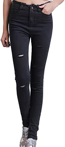 Chickle Women's Cotton Ripped Distressed Skinny Pencil Jeans