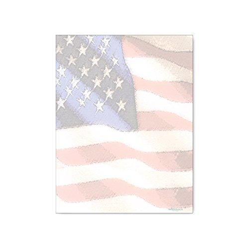 American Flag Stationery - 8.5 x 11-60 USA Letterhead Sheets - Patriotic -