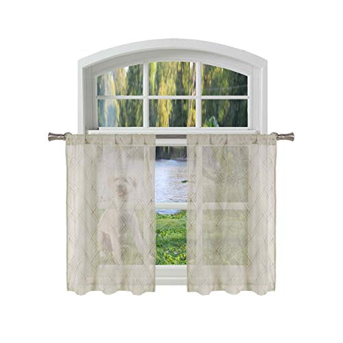 (Bathroom and More Collection Taupe SHEER 2 Piece Window Curtain Café/Tier Set: Embroidered Diamond Trellis Design with Taupe and Metallic Silver Thread (Pair (2) Tiers 36in L Each))