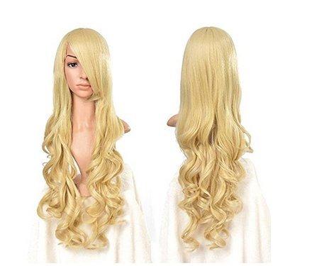 Mermaid Fashion Women Wig Heat Resistant Long Curly Hair Cosplay Anime Costume Dark Purple Full Wigs+Cap (Mermaid Wig In Blonde)
