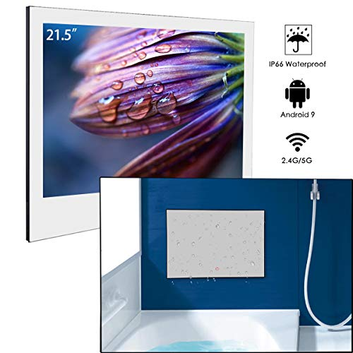 Haocrown 21.5inch Mirror TV, Smart TV with WiFi Bluetooth Android9.0 IP66 Waterproof Television