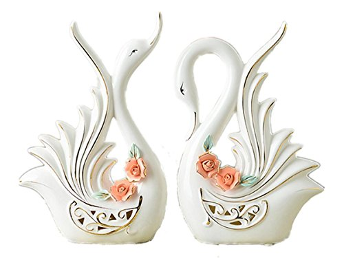JIAAE Creative Home Decoration Ceramic Crafts Couple Furnishings Swan Shape Wedding Gifts, a Pair of Pink Flowers