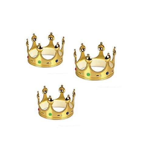 Hot Sale 2017 Gold King Prince Or Queen Crowns 3 Pack Lpinbelorg