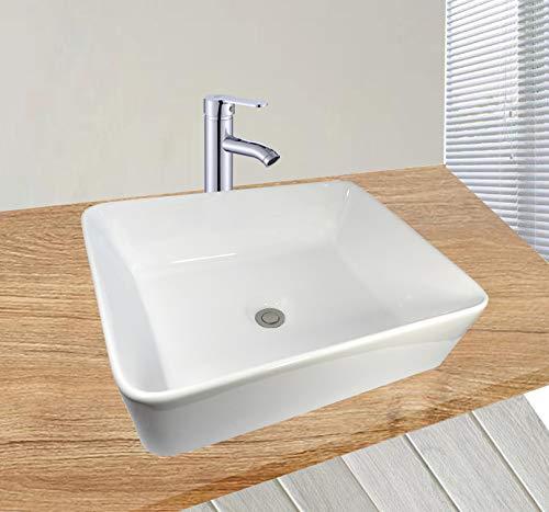 Lavandino in ceramica, rettangolare, 48 x 37 cm, colore: bianco Marklos