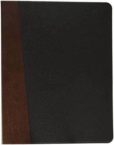 iCarryAlls PU Leather Organizer Folio Case, Fits Letter-Size/A4 Notepad and Documents,Black+Coffee