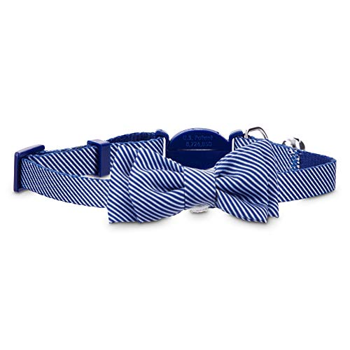 Posh Cat Collars - Bond & Co. Blue Seersucker Breakaway Bowtie Cat Collar, Standard, Blue/White