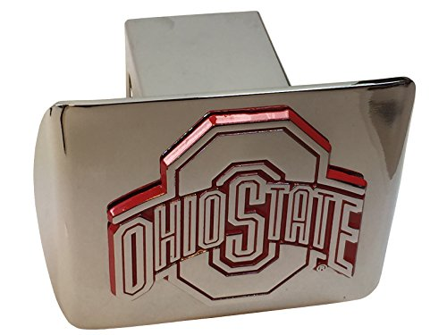 THE Ohio State University METAL emblem (chrome with red trim) on chrome METAL Hitch Cover