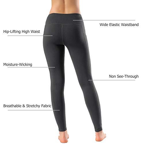 Women's High Waist Yoga Pants Side & Inner Pockets Tummy Control Workout Running 4 Way Stretch Sports Leggings by HOFI (Image #5)