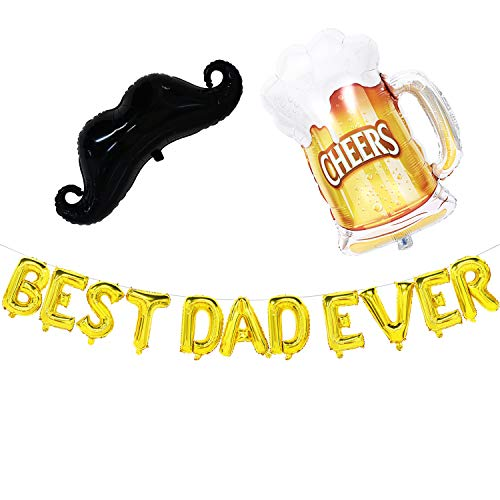 Fathers Day Balloons - Best Dad Ever Banner with Moustache and Beer Mug Balloons - Fathers Day Decorations - Fathers Day Party ()