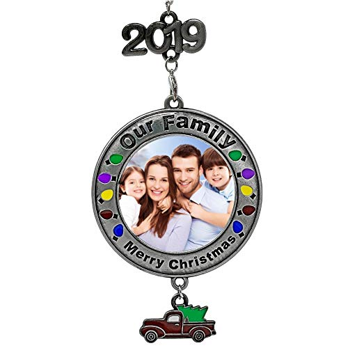 BANBERRY DESIGNS Dated 2019 Christmas Picture Ornament - Our Family Merry Christmas - Red Vintage Pick Up Truck Charm with Holiday Tree