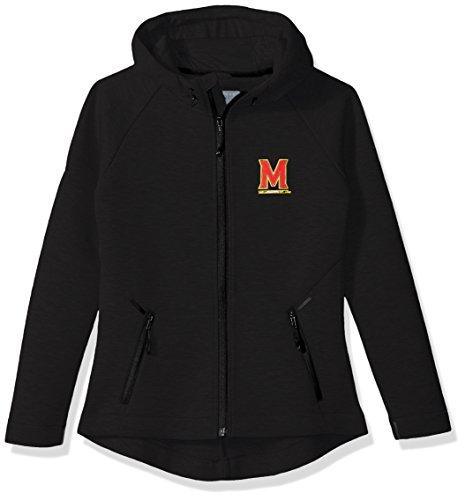 Levelwear LEY9R NCAA Maryland Terrapins Adult Women Motion Insignia Full Zip Hooded Jacket, X-Large, Black