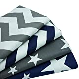 """4pcs/lot 15.7""""x19.7"""" Grey Dark Blue Stars Chevron Printed Cotton Fabric for Home Textile Bedding Quilting Tissue to Patchwork"""