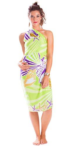 - 1 World Sarongs Womens Fringeless (TM) Seashell Sarong Striking Susan Key Lime and Purple