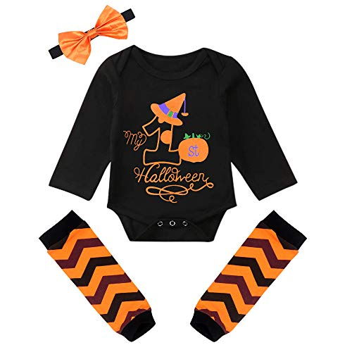 Halloween Costumes For 9 Month Old Girl (Baby Girls' Outfit Set Halloween Pumpkin Costume Long Sleeve Romper 4PCS)