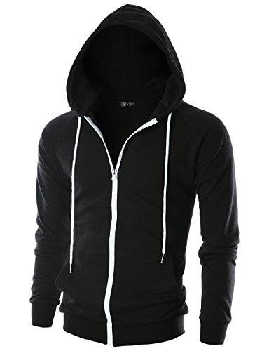 Metal Shed Brown Trim - GIVON Mens Slim Fit Long Sleeve Lightweight Raglan Zip-up Hoodie with Kanga Pocket/DCF017-BLACKBLACK-XS