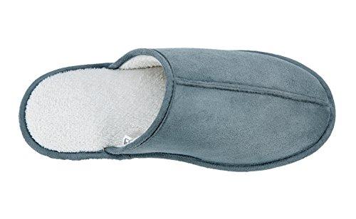Kushyshoo Uomo Fleece Coperta Per Esterno Casa Slipper Con Suola Antiscivolo Grigio E Bianco