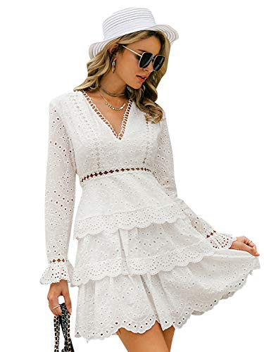 BerryGo Women's Long Sleeve Lace Ruffle Dress V Neck Cotton Aline Dress White-M