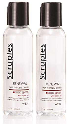 Scruples Renewal Hair Therapy Polish 2 fl. oz 60 ml – Hair Polisher Repair Serum with Argon Oil – Restores Dry Hair Adds Shine Alcohol Free – Suitable for All Hair Types Pack of 2