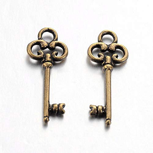 22 Antique Bronze Coloured Skeleton Key Charms 21mm x 8mm. CH033 Enchanted Jewels