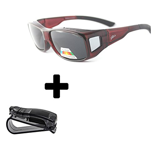 Fit Over Polarized Sunglasses to Wear Over Prescription Glasses + car clip holder (Buy Prescription Glasses Online)