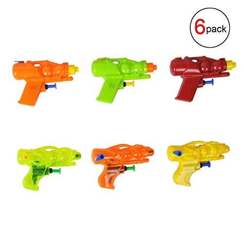 EBTOYS Water Gun Party Favor Mini Water Pistol Plastic Water Squirt Gun for Children Beach Pool Backyard Water Blaster,6-Pack Assortment