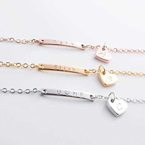 Lovely Mini Personalized Name Bar & Initial Bracelet / 16k Gold Rose Gold White Gold Plated/Christmas Bridesmaids Gift ()