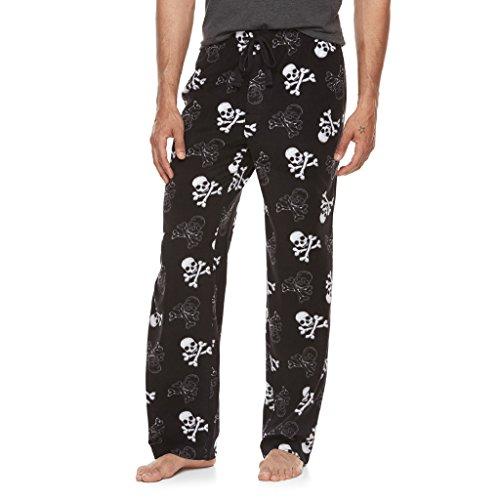 Men's Skulls and Crossbones Print Ultra-Soft Brushed Microfleece Sleep Bottoms Lounge Pajama Pants (Large) Microfleece Lounge Pants