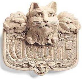 Hand Cast Stone Gothic Kitten Cat & Mouse - Collectible Welcome Plaque - Concrete Feline Sculpture