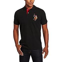 U.S. Polo Assn. Men's Short-Sleeve Pique Polo Shirt with Multi-Color Pony Logo