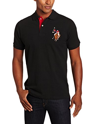 U.S. Polo Assn. Men's Short-Sleeve Pique Polo Shirt with Multi-Color Pony Logo