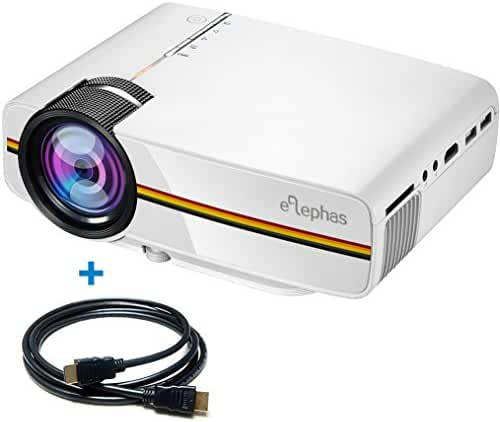 ELEPHAS 1200 Lumens LED Mini Video Projector, Support 1080P Portable Pico Projector Ideal for Home Theater Cinema Movie Entertainment Games Parties, White