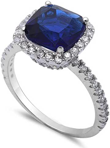 3CT Cushion Cut Simulated Blue Sapphire & Cz .925 Sterling Silver Ring Sizes 4-11