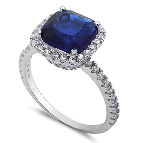 3CT Cushion Cut Simulated Blue Sapphire & Cz .925 Sterling Silver Ring Size 7