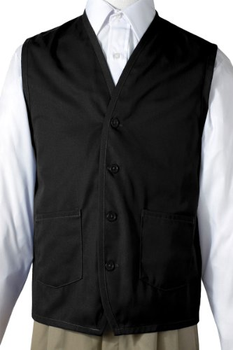 Button Embroider (Ed Garments Button Down Front Pockets Apron Vest, BLACK, XX-Large)