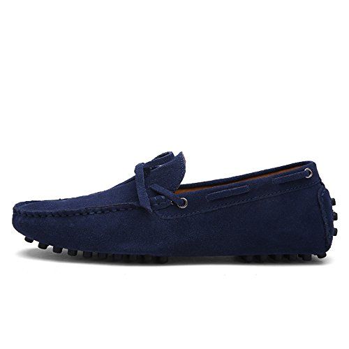 Men's Driving Loafers Genuine Leather Boat Moccasins Rubber Studs Sole Cricket Shoes (Color : Navy, Size : 44 EU)