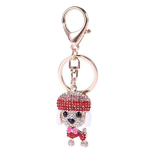 Toyvian Metal Keychain Charm Diamond Keyring Pendant Dog Shape Keychain for Bag Phone car Gifts (red)