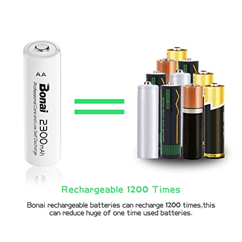 BONAI AA Rechargeable Batteries 2300mAh 1.2V Ni-MH High Capacity 24 Pack - UL Certificate - http://coolthings.us