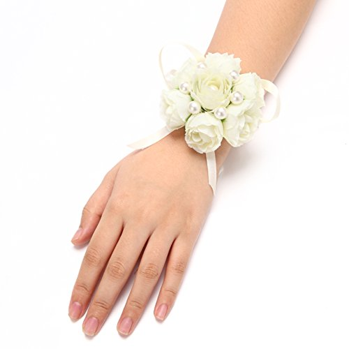 FAYBOX Girl Bridesmaid Wedding Wrist Corsage Party Prom Hand Flower Decor Pack of 2 Ivory ()