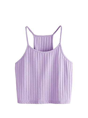 (SheIn Women's Summer Basic Sexy Strappy Sleeveless Racerback Crop Top X-Small Purple)
