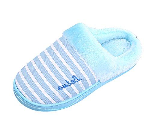 ICEGREY Damen Winter Warme Hausschuhe Streifen Muster Plüsch Fleece Gemütliche Wärmehausschuhe Pantoffeln Blau 36 37