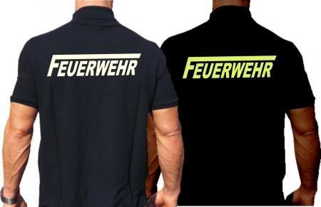 """Poloshirt FEUERWEHR mit langem """"F"""" mit fluoreszierend-nachleuchtendem beidseitigem Schriftzug"""